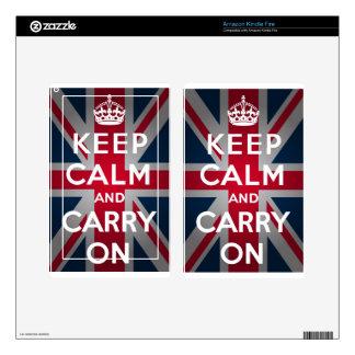 Union Jack Keep Calm And Carry On Kindle Fire Decal