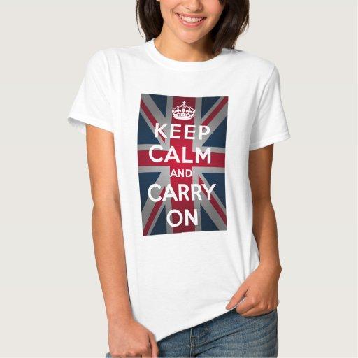 Union Jack Keep Calm And Carry On Tee Shirts