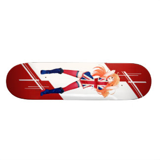 Union Jack Manga girl dressed in Flag - UK - Skateboard