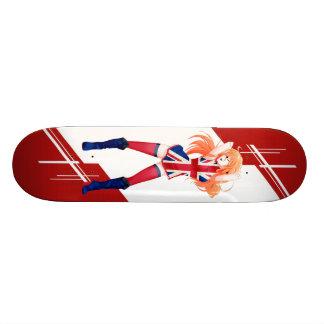 Union Jack Manga girl dressed in Flag - UK - Skateboards