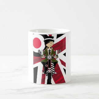 Union Jack Mod Girl on Scooter Coffee Mug