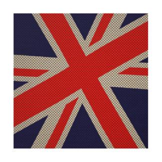Union Jack moderno en la impresión del estilo de Impresión En Madera