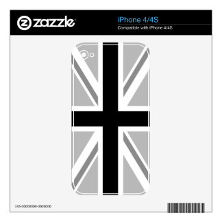 Union Jack monocromático/diseño de la bandera Calcomanías Para iPhone 4