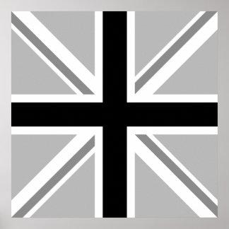 Union Jack monocromo de la bandera Posters