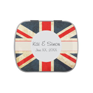 Union Jack Monogram Wedding Favor Filled Candy Tin