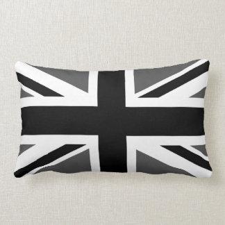Union Jack negro y gris Cojin
