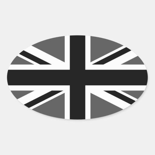 Union Jack negro y gris Pegatina Óval
