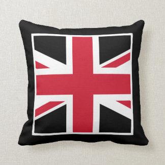 Union Jack negro y rojo Cojín