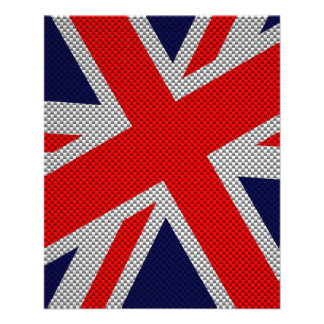 Union Jack on Carbon Fiber Style Print Flyer