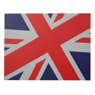 Union Jack on Carbon Fiber Style Print Notepad