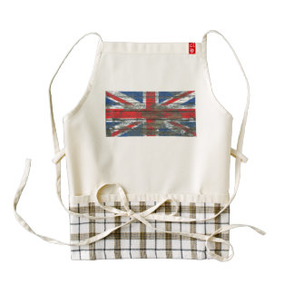 Union Jack on Rough Wood Boards Effect Zazzle HEART Apron