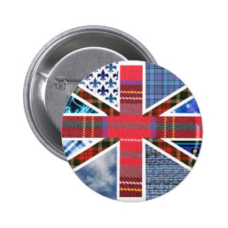 Union Jack Patchwork Pattern Pinback Buttons