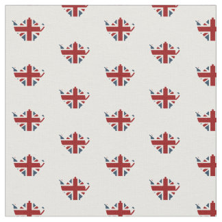 Union Jack Patriotic English Tea Kettle Fabric