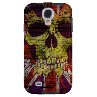 Union Jack Patriotic Skull On Gunge Wall Flag Galaxy S4 Case