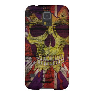 Union Jack Patriotic Skull On Gunge Wall Flag Galaxy S5 Case