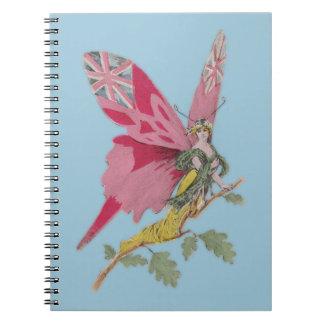 Union Jack patriótico de la mariposa del vintage Cuadernos