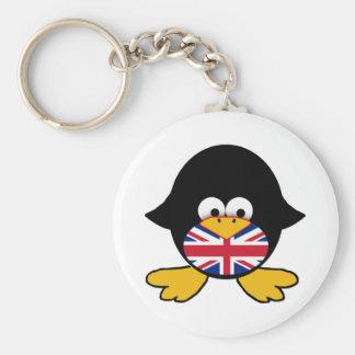 Union Jack Penguin Basic Round Button Keychain