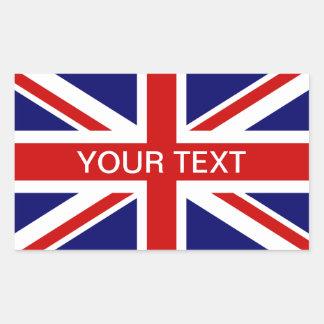Union Jack personalizable británico de los Pegatina Rectangular
