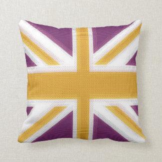 Union Jack Purple Throw Pillows