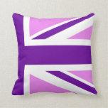 Union Jack púrpura a medias violeta Almohadas