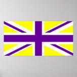 Union Jack púrpura amarillo Posters