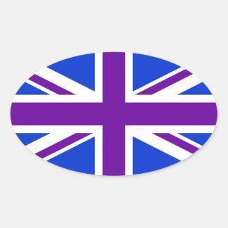 Union Jack púrpura azul Pegatina Ovalada