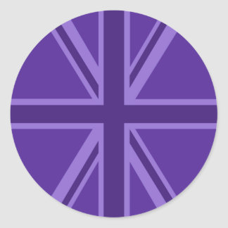 Union Jack púrpura vibrante Pegatina Redonda