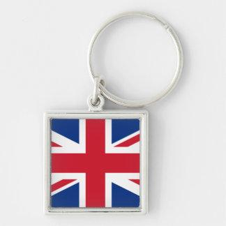Union Jack Reino Unido Llavero Cuadrado Plateado