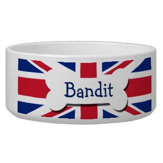 Union Jack Reino Unido personalizado Tazón Para Perro