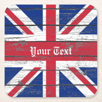 Union Jack resistió a la madera personaliza Posavasos Desechable Cuadrado
