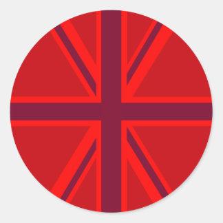 Union Jack rojo Pegatina Redonda