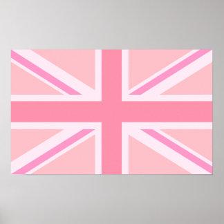 Union Jack rosado bandera Poster