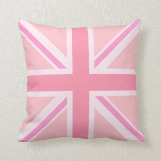 Union Jack rosado/diseño del cuadrado de la bander Cojines