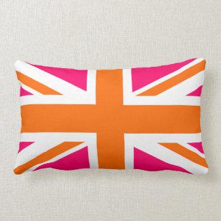 Union Jack rosado y anaranjado Cojín Lumbar