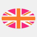 Union Jack rosado y anaranjado Colcomanias Óval Personalizadas
