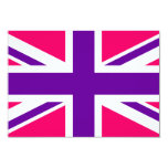 Union Jack rosado y púrpura Invitación 8,9 X 12,7 Cm