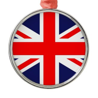 Union Jack Round Metal Christmas Ornament