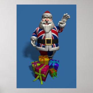 Union Jack Santa Claus Poster