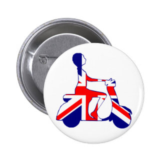 Union Jack scooter girl 2 Inch Round Button