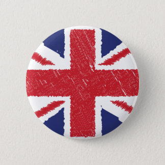 Union Jack  Scribble Abstract Flag Background Pinback Button