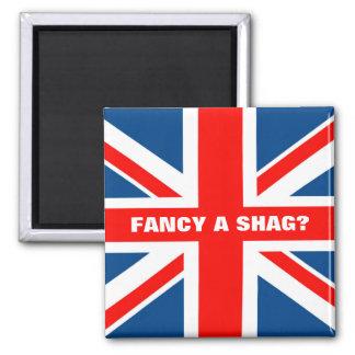 Union Jack shag 2 Inch Square Magnet