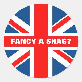 Union Jack shag Classic Round Sticker