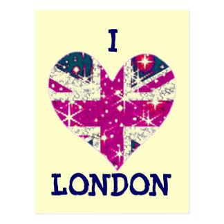 Union Jack sparkly heart London postcard