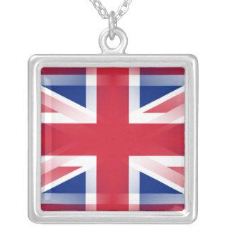 Union Jack Square Pendant Necklace