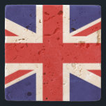 "Union Jack Stone Coaster<br><div class=""desc"">Beautiful graphic stone coaster,  with the red,  white,  and blue UK Union Jack flag. Chose the stone style you prefer and customize to add your own text.  Stylish gift idea for anyone.</div>"