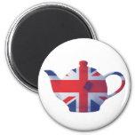 Union Jack Teapot 2 Inch Round Magnet