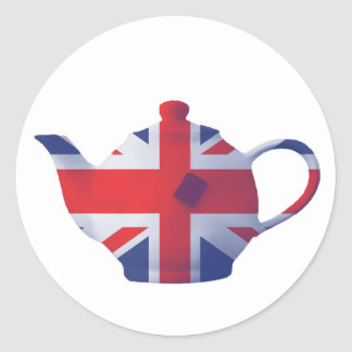 Union Jack Teapot Classic Round Sticker