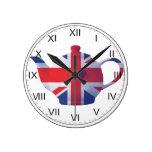 Union Jack Teapot Wall Clock