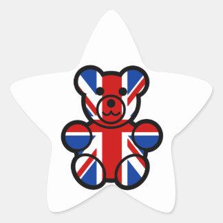 Union Jack Teddy Bear Star Sticker
