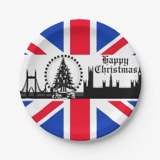 Union Jack Theme London Christmas Paper Plates